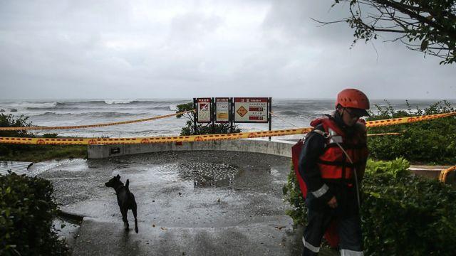 非常に強い台風が8日早朝、台湾東部に上陸した。写真は台湾東部の宜蘭。