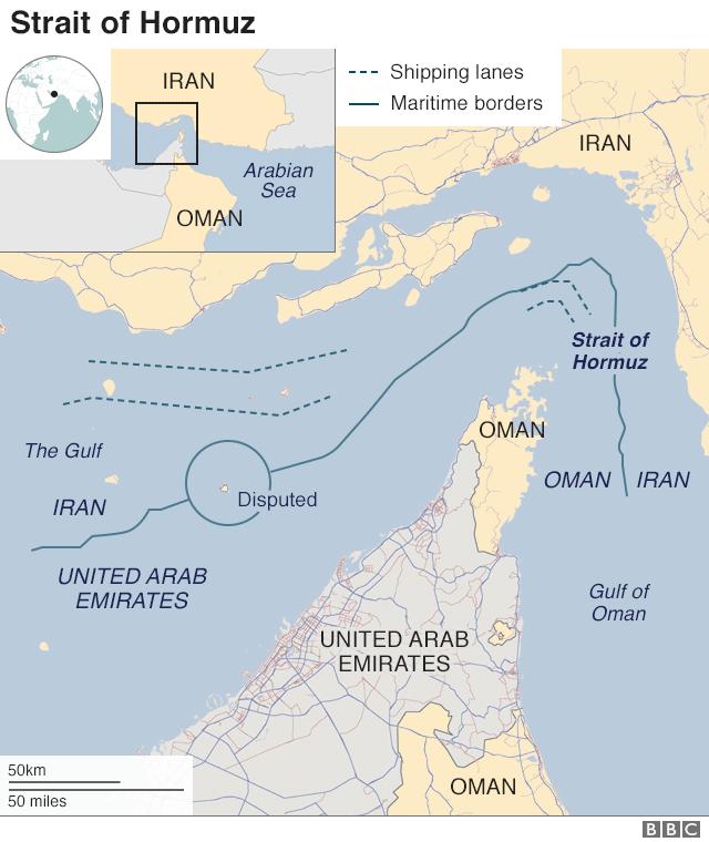 Map showing the Strait of Hormuz