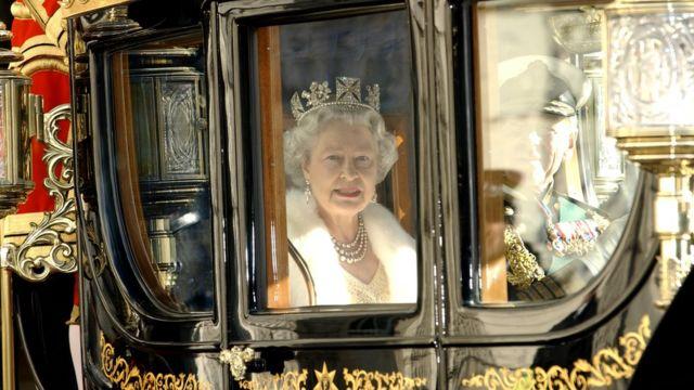 女王伊丽莎白二世乘马车去议会大厦