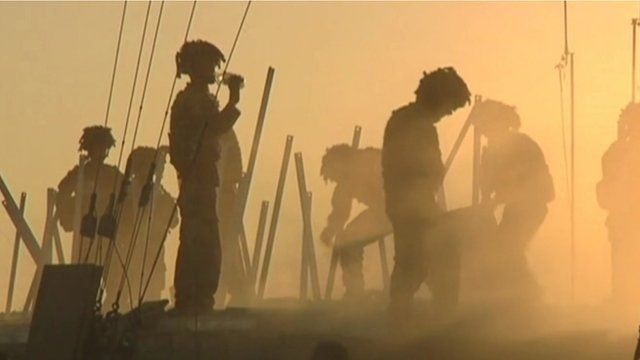 File photo of British soldiers in silhouette