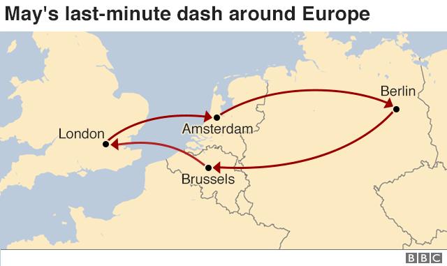 map showing may's travel around europe