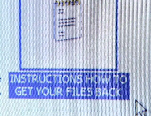 Pantalla con instrucciones para recuperar sus archivos