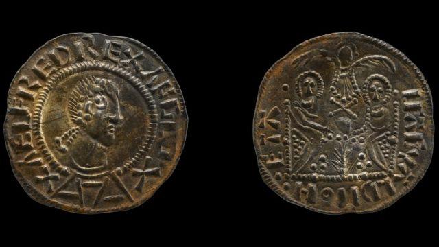Монета с надписью 'Aelfred Rex Anglo'