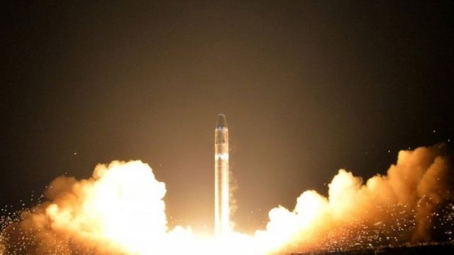 The test of North Korea's Hwasong-15' intercontinental ballistic rocket. File photo