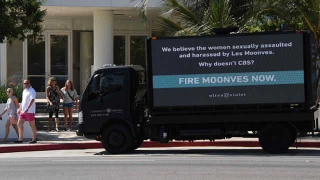 Slogan urging Mr Moonves' removal, California