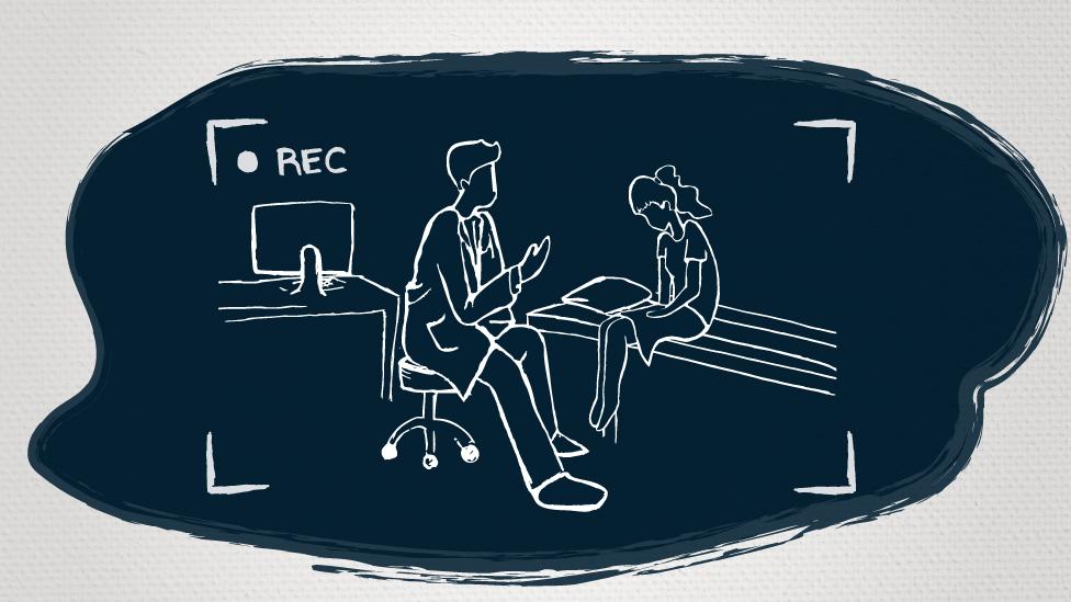 Ilustración del médico en el consultorio