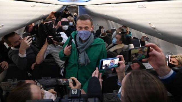 ناوالنی در هنگام بازگشت به روسیه در مسکو بازداشت شد