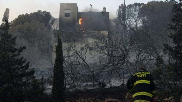 हैफ़ा में भीषण आग