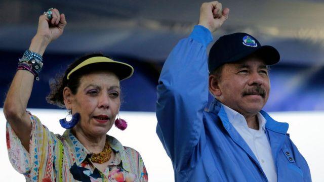 Le président nicaraguayen Daniel Ortega et son épouse, la vice-présidente Rosario Murillo lors d'un événement à Managua, le 29 août 2018.