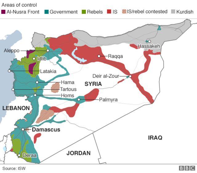 シリア国内の各勢力の支配地域(青緑:政府軍、赤:IS、灰色:クルド人勢力、緑:反政府勢力、赤斜線:ISと反政府勢力が支配めぐって抗争、紫:ヌスラ戦線)