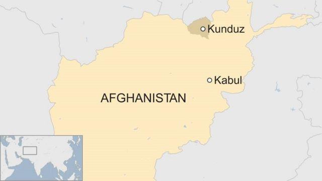 アフガニスタンの地図。空爆を受けたクンドゥズは同国北東部に位置する