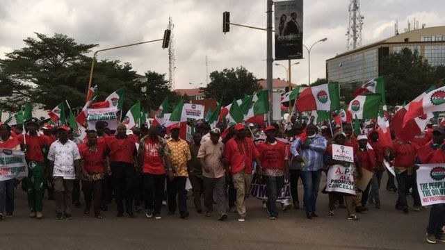 Marching NLC members in Abuja