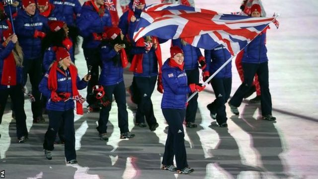 Great Britain's Lizzy Yarnold carries the Great Britain flag at the opening ceremony