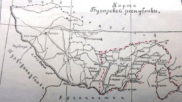 Карта Бухарской республики, 1922 год
