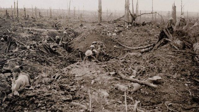 British troops in trenches on a battlefield of the Somme in 1916
