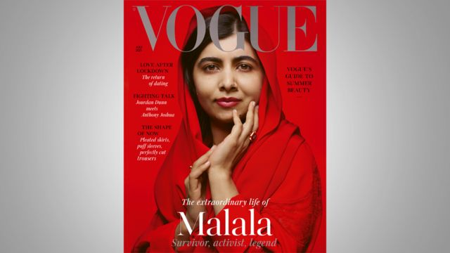 Malala aparece de véu e batom vermelho, em frente a fundo da mesma cor, com sorriso contido na capa da revista
