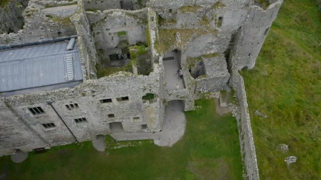 Drone's view of Carew Castle