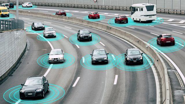 Ilustración de autos conectados a la red de OneWeb.