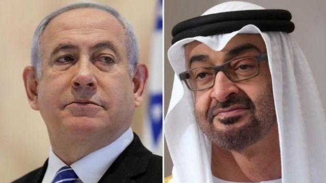 بنیامین نتانیاهو، نخست وزیر اسرائیل و محمد بن زاید، ولیعهد ابوظبی