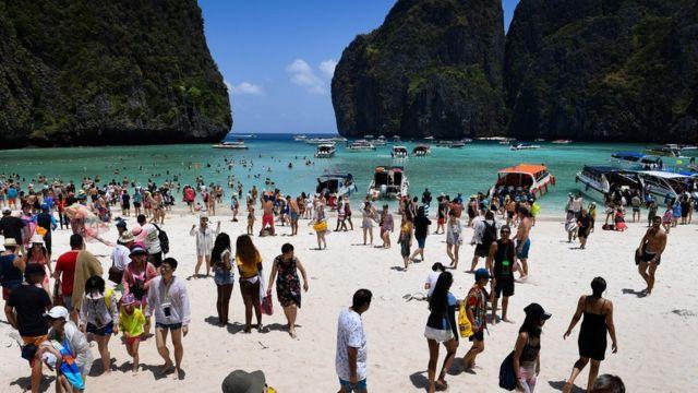 The scene at Maya Bay