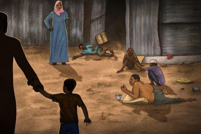 Illustration d'une cour avec des aveugles guidés par des enfants.