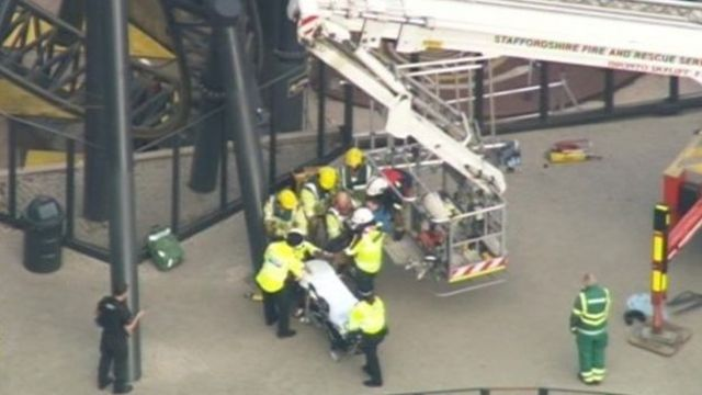 Emergency services at the Smiler ride at Alton Towers