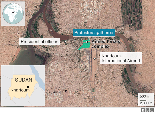 Map of Khartoum showing where protesters are gathered