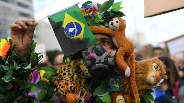 An activist demonstrates during a protest called by intellectuals and artists against the destruction of the Amazon rainforest,