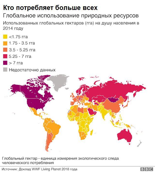 карта глобального потребления