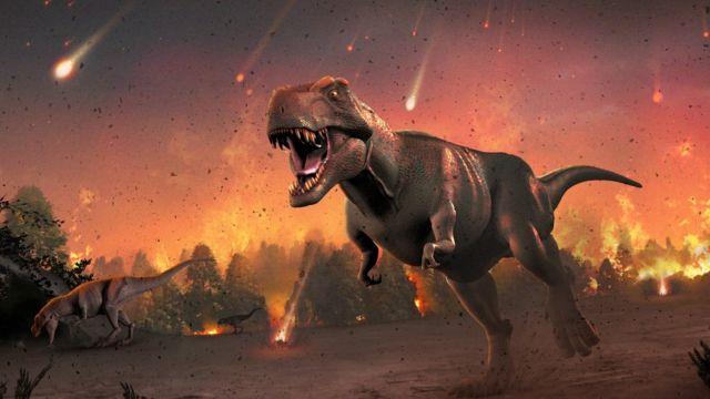 انقرضت الديناصورات بعد اصطدام الأرض بجرم سماوي قبل ملايين السنين