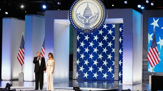 Donald and Melania Trump take the stage at one of his inaugural balls.