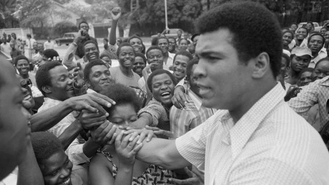 Muhammad Ali is greeted in downtown Kinshasa, Zaire - 17 September 1974