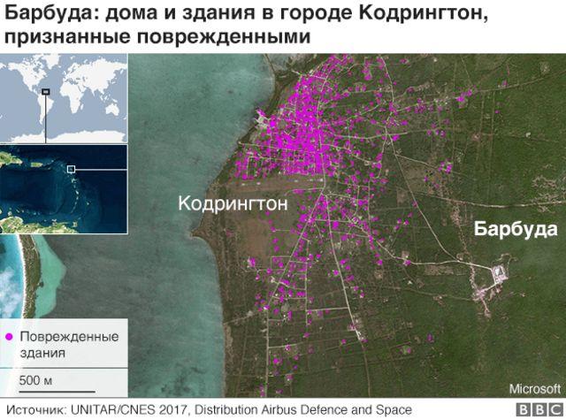 Карта разрушений Барбуды