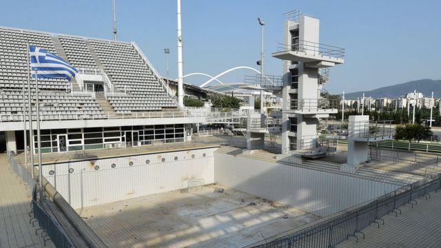 Piscina de clavados de Atenas 2004 abandonada