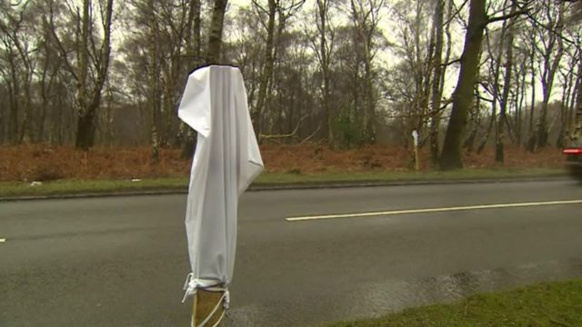 A white bag on a post at Cannock Chase