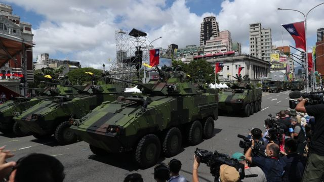 Taiwan military vehicles parade during Taiwan National Day celebrations in Taipei, Taiwan, 10 October 2021.