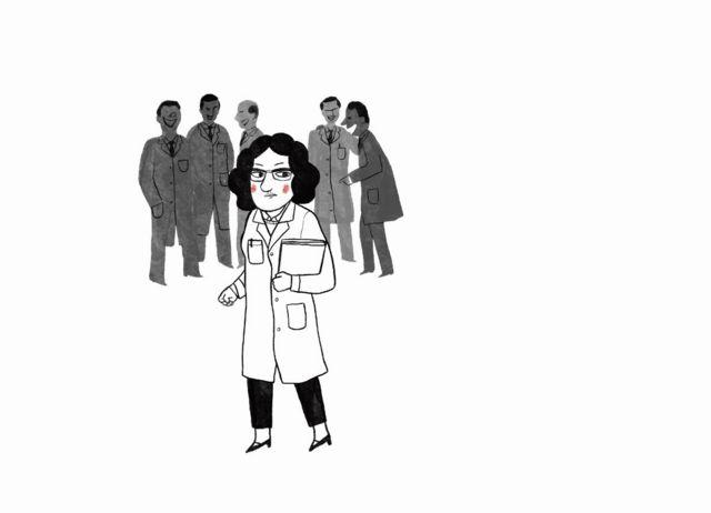 Ilustración de una científica con hombres detrás.