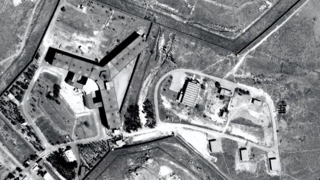 Fotografía aérea de la cárcel de Saydnaya, al norte de Damasco, Siria