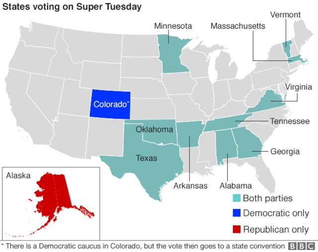 Map: Super Tuesday states