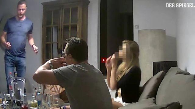 Кадр из видеозаписи, спровоцировавшей отставку австрийских политиков