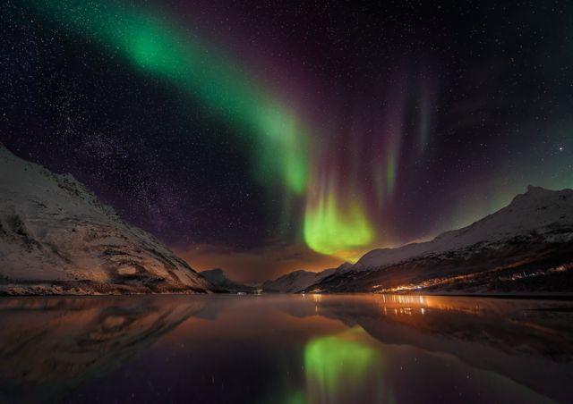 Aurora over Laksvatn Fjord, Norway, by Matt Walford.