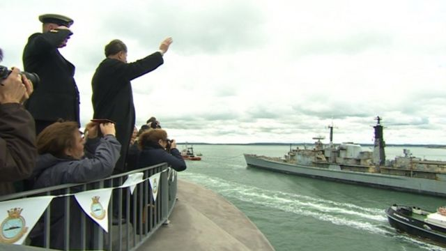A crowd waved goodbye to HMS Gloucester as it left Portsmouth