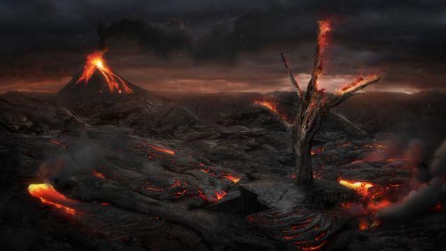 Вулкан и черная равнина