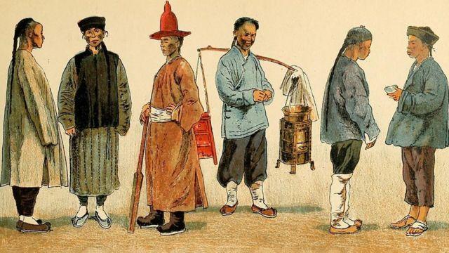 1905年出版的《服飾歷史》一書中的留辮漢人 Chinese men with the Manchu hairstyle from the book Geschichte des Kostüms (History of the Costume) published in 1905