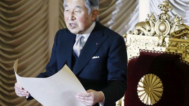 明仁天皇は1989年に即位した。写真は今年1月、国会開会式の天皇陛下。