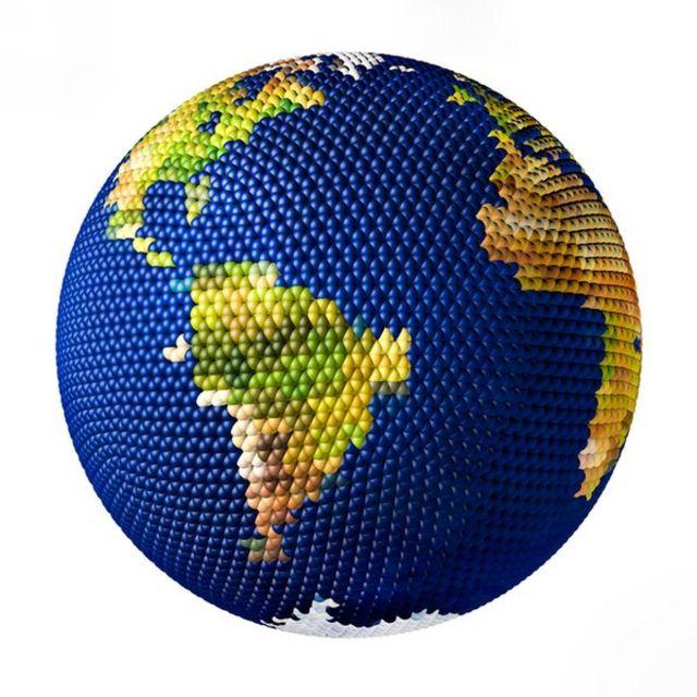 Una ilustración del planeta que muestra África y América del Sur
