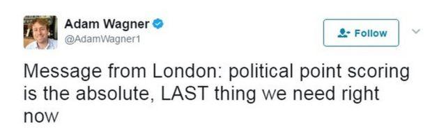 """""""Mensaje de Londres: tomar ventaja política es absolutamente lo ÚLTIMO que necesitamos ahora"""""""