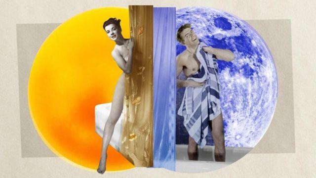 Ilustração com homem e mulher tomando banho