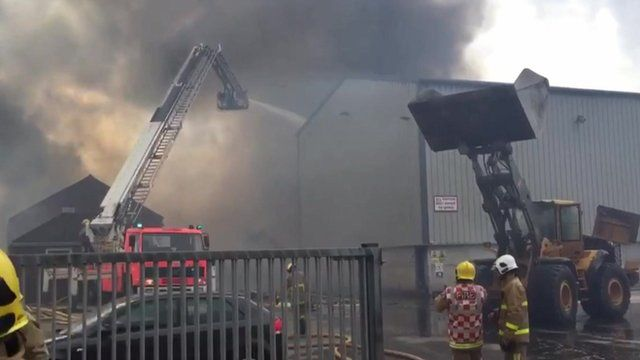 Fire at sawdust mill in Farington Moss near Leyland