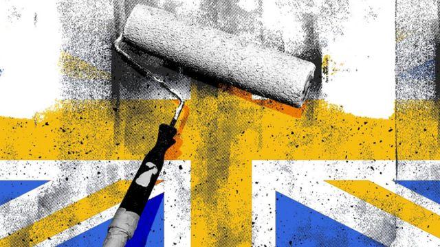 رسم فرشة وعلم بريطانيا